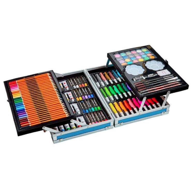 Набор Юного художника для детского творчества из 145 предметов в кейсе (синий)