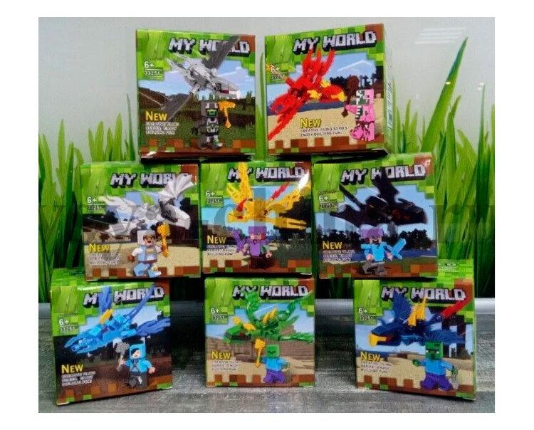 """Набор из 8 минифигурок с драконами Майнкрафт """"Герои на драконах""""  Lari 33251"""