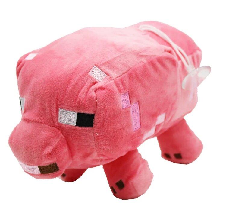 Мягкая игрушка Свинка из Майнкрафт розовая с креплением присоской