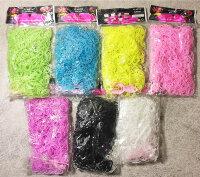 Набор однотонных резиночек для плетения 7 цветов  (с прозрачными и черными)