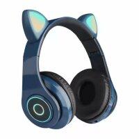 Беспроводные наушники с ушками светящиеся  Cat Ear HXZ-B39 Синие