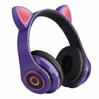 Беспроводные наушники с ушками светящиеся  Cat Ear HXZ-B39 Фиолетовые