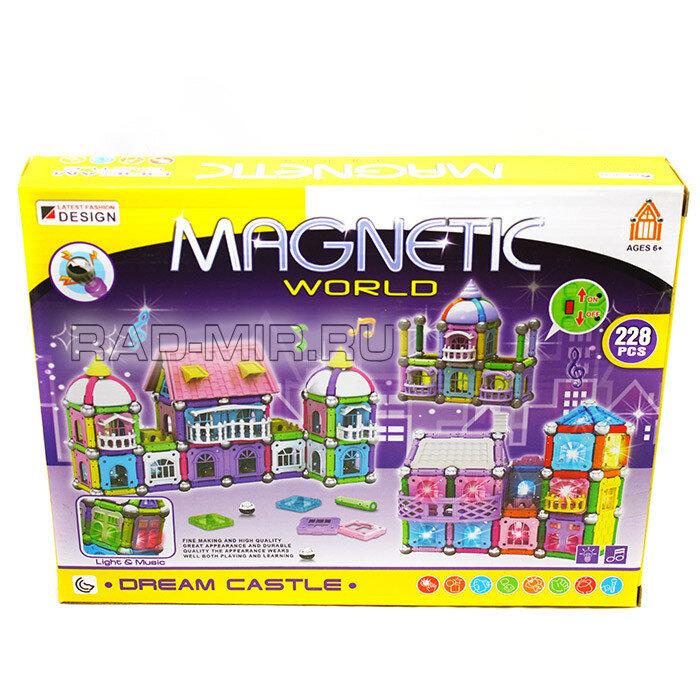 """""""Замок Мечты""""Магнитный конструктор с шариками и палочками  228  дет. Magnetic world"""