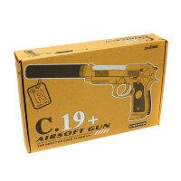 Пистолет с глушителем для страйкбола   C19+ AIR SOFT GUN
