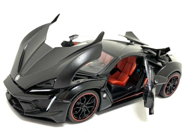 Ликан ГиперСпорт, машина металлическая Lykan Hypersport, инерционная, со светом и звуком (черный)