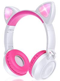 Беспроводные наушники  с ушами кошки ZW-028 (белые с розовым)