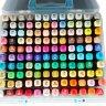 Скетч-маркеры 120 цветов двусторонние пулевидный и скошенный наконечник в пластиковом контейнере