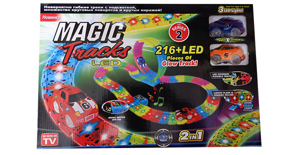 Чудо трасса с LED подсветкой Magic Tracks  Мертвая петля 216 деталей